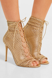Gianvito Rossi Woven metallic leather sandals