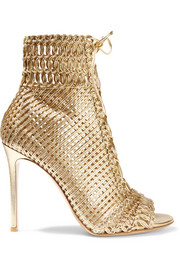 Woven metallic leather sandals