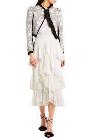 Erdem Simone tiered crocheted lace midi skirt