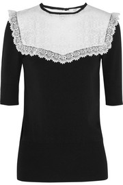 Marissa lace-paneled jersey-crepe top