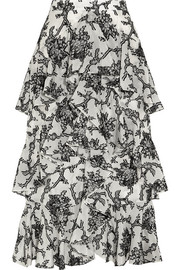 Erdem Simone tiered fil coupé midi skirt