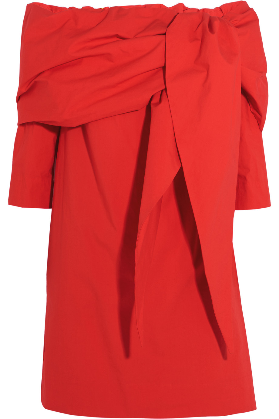 Isa Arfen Off-the-Shoulder Stretch-Cotton Mini Dress, Red, Women's, Size: 6