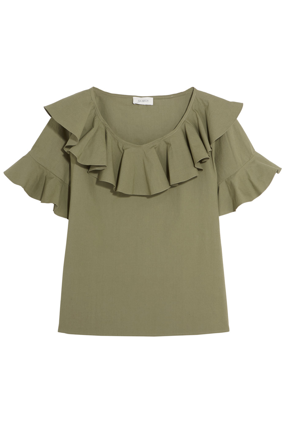Isa Arfen Florence Ruffled Stretch-Cotton Top, Army Green, Women's, Size: 6