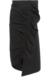 Ruched stretch-cotton skirt