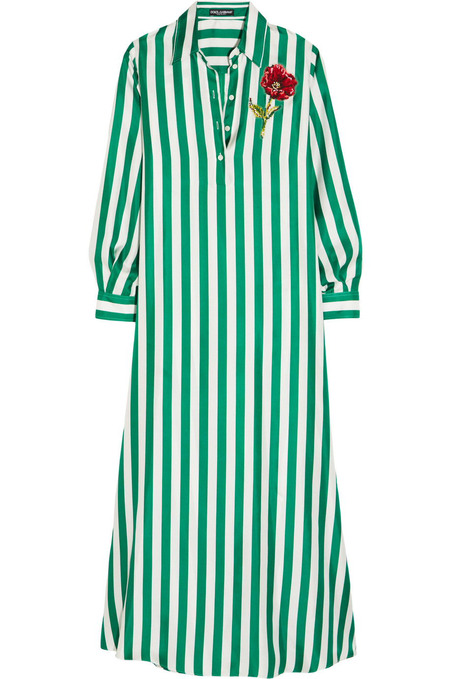 Dolce & Gabbana Appliquéd Striped Silk-Satin Maxi Dress, Green, Women's, Size: 36