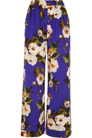 Floral-print stretch-silk charmeuse wide-leg pants