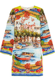 Dolce & Gabbana Embellished printed stretch-silk tunic