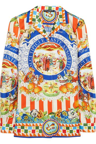Dolce & Gabbana - Printed Silk-twill Shirt - Orange