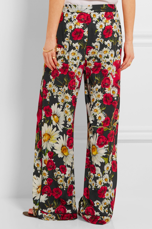 Dolce & Gabbana Floral-print silk-blend crepe wide-leg pants