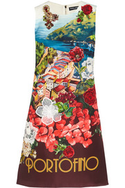 Dolce & Gabbana Portofino embellished printed silk mini dress