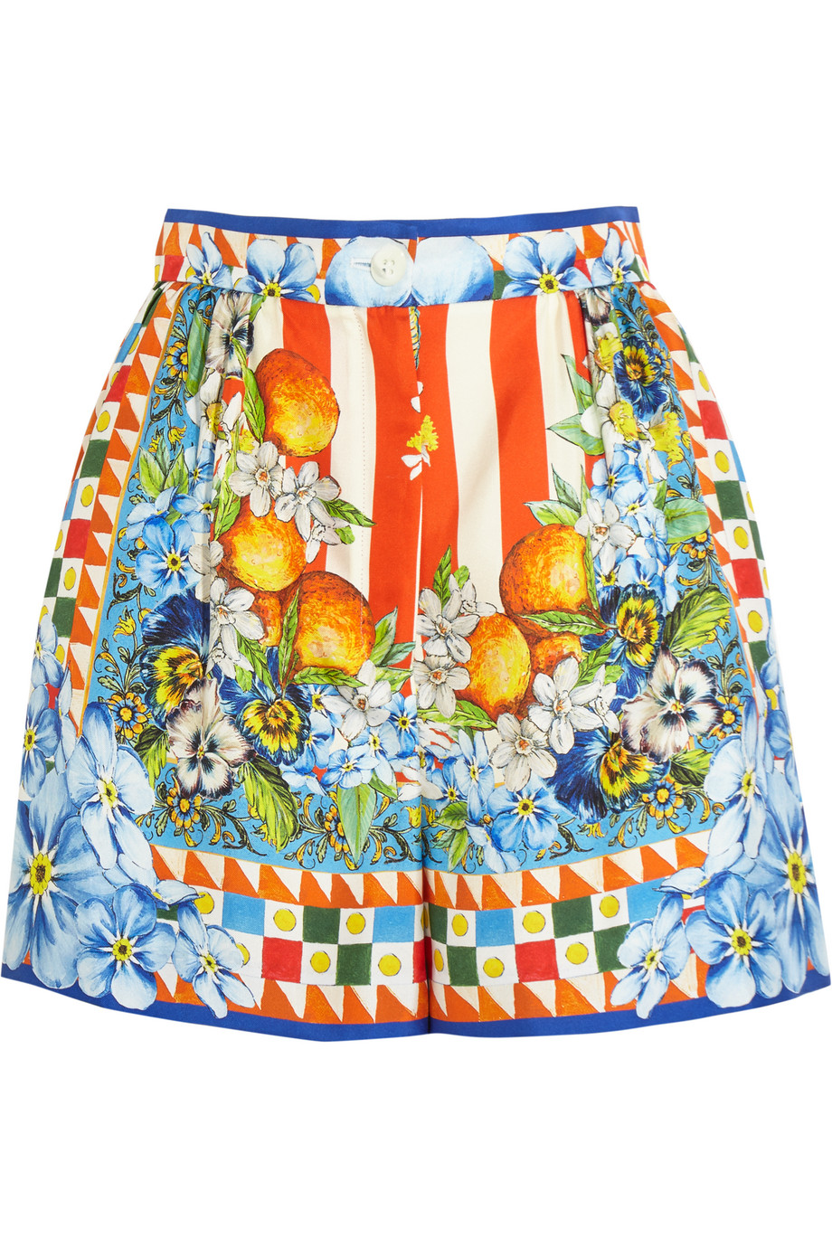 Dolce & Gabbana Printed Silk-Satin Shorts, Orange/Blue, Women's, Size: 38