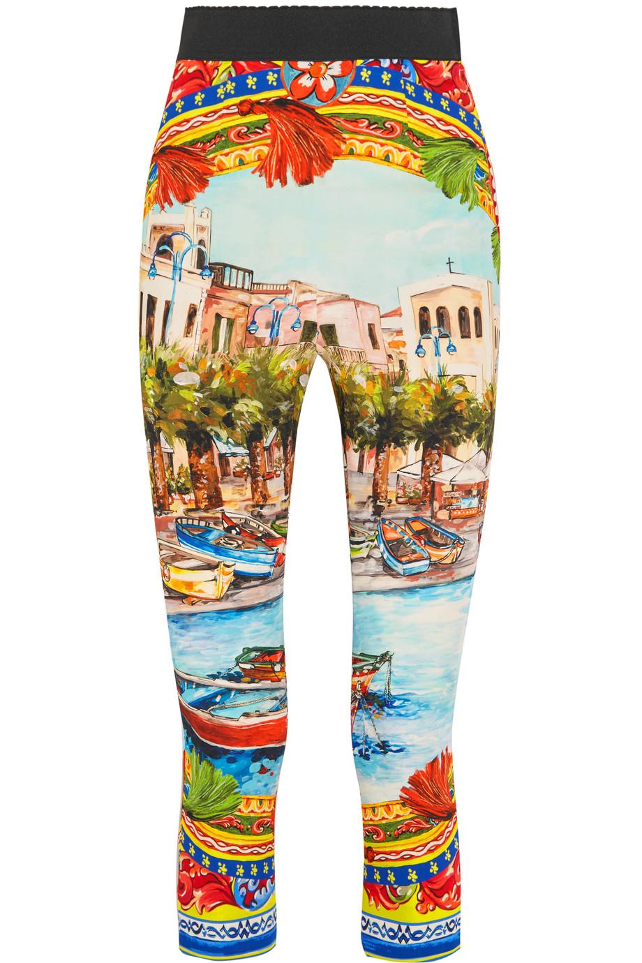 Dolce & Gabbana Cropped Printed Stretch-Silk Skinny Pants, Orange/Sky Blue, Women's, Size: 38