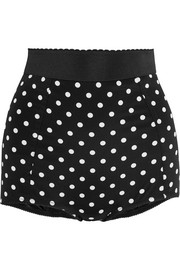 Polka-dot silk-blend and lace shorts