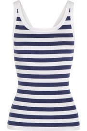 Striped knitted silk tank