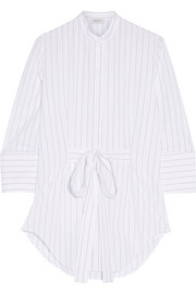 Pinstriped cotton-poplin tunic