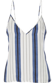 Striped silk-twill camisole
