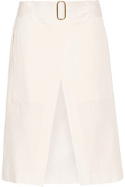 Belted cotton and linen-blend shorts
