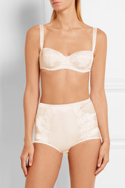 Dolce & Gabbana Lace-trimmed stretch-silk satin balconette bra