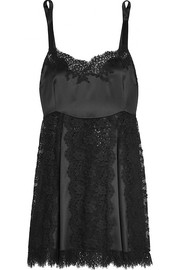 Lace and silk-blend satin chemise