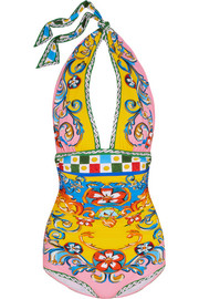 Carretto printed halterneck swimsuit