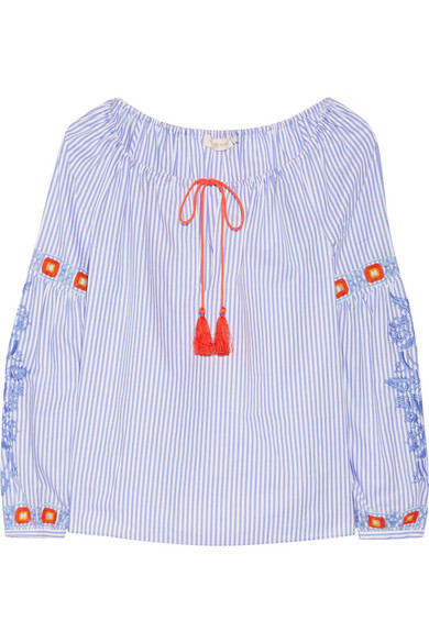 Tory Burch - Madison Embroidered Striped Cotton Oxford Tunic - Azure
