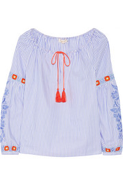 Tory Burch Madison embroidered striped cotton Oxford tunic