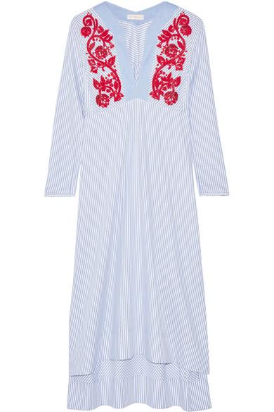 Tory Burch - Jade Embroidered Cotton Oxford Midi Dress - Blue