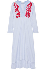 Tory Burch Jade embroidered cotton Oxford midi dress
