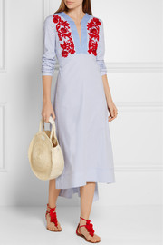 Jade embroidered cotton Oxford midi dress