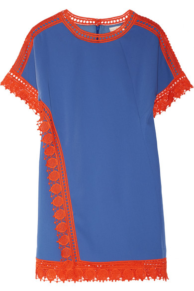 Tory Burch - Marissa Crochet-trimmed Crepe De Chine Mini Dress - Blue
