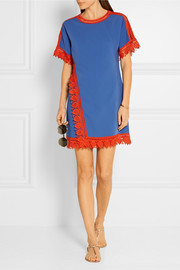 Tory Burch Marissa crochet-trimmed crepe de chine mini dress