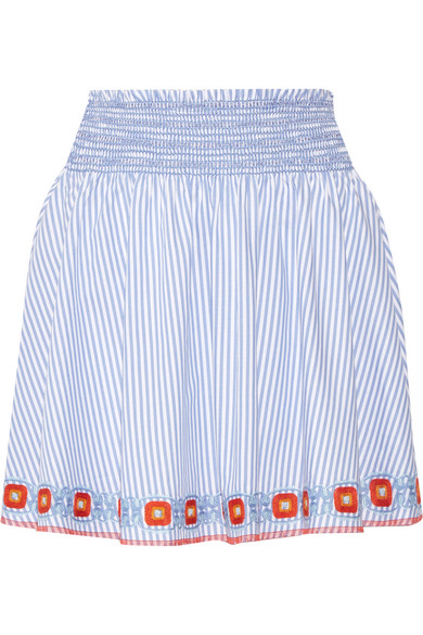 Tory Burch - Grace Embroidered Striped Cotton Oxford Mini Skirt - Blue