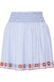 Tory Burch Grace embroidered striped cotton Oxford mini skirt