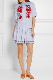 Grace embroidered striped cotton Oxford mini skirt