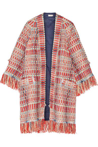 Tory Burch - Erica Fringed Metallic Tweed Jacket - Red
