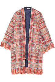 Tory Burch Erica fringed metallic tweed jacket