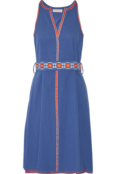 Tory Burch - Savannah Embroidered Cotton And Linen-blend Crepon Dress - Blue