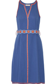 Tory Burch Savannah embroidered cotton and linen-blend crepon dress