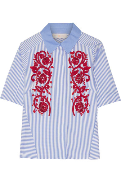 Tory Burch - Emily Embroidered Striped Cotton Oxford Shirt - Blue