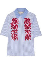 Tory Burch Emily embroidered striped cotton Oxford shirt