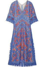Tory Burch Michaella guipure lace-trimmed crocheted dress