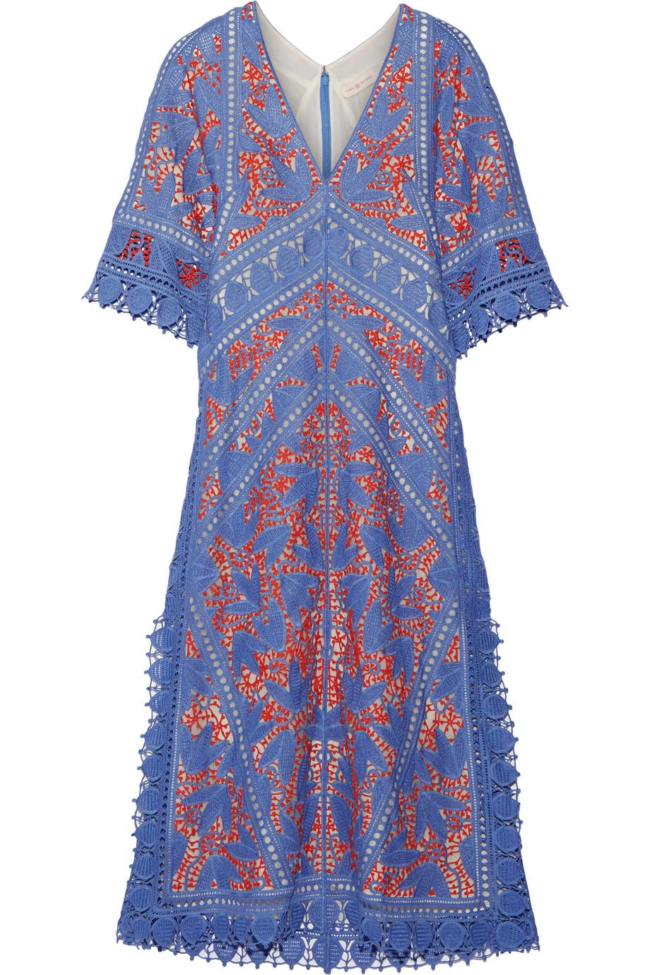 Tory Burch Michaella Guipure Lace-Trimmed Crocheted Dress, Light Blue, Women's, Size: 4