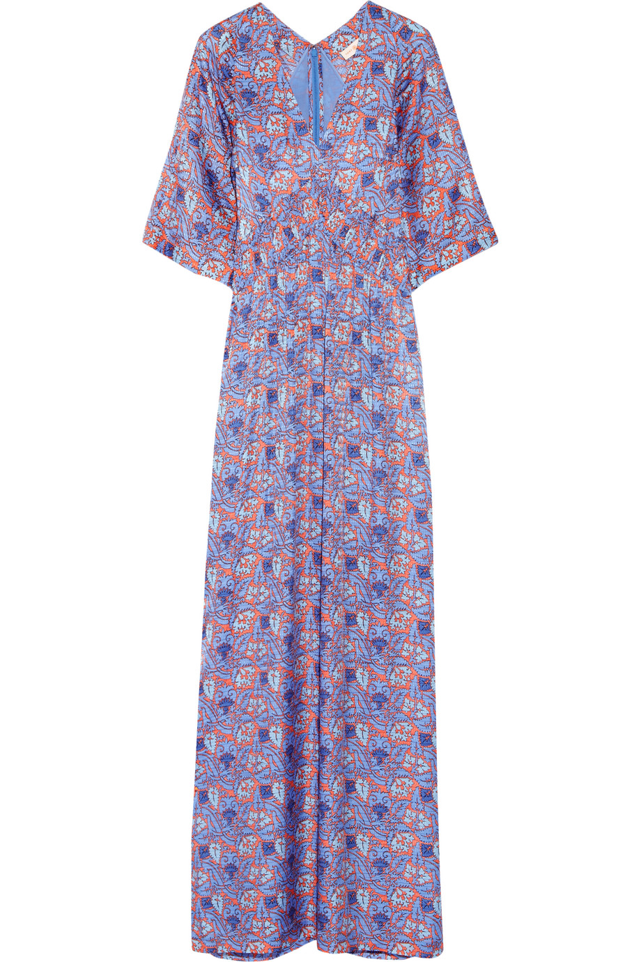 Tory Burch Corinne Printed Silk-Blend Maxi Dress, Purple, Women's - Printed, Size: 10