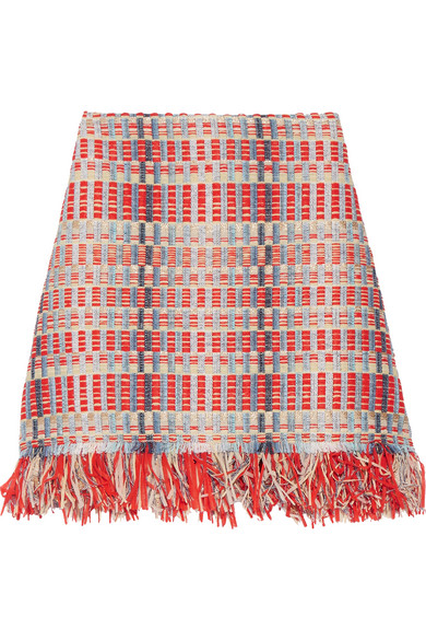 Tory Burch - Tara Fringed Metallic Tweed Skirt - Red