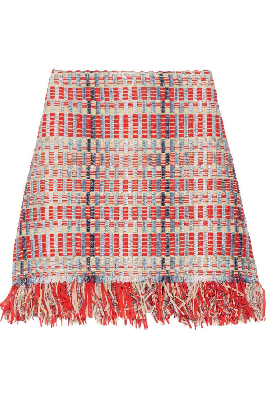 Tory Burch Tara Fringed Metallic Tweed Skirt, Red/Sky Blue, Women's, Size: 0