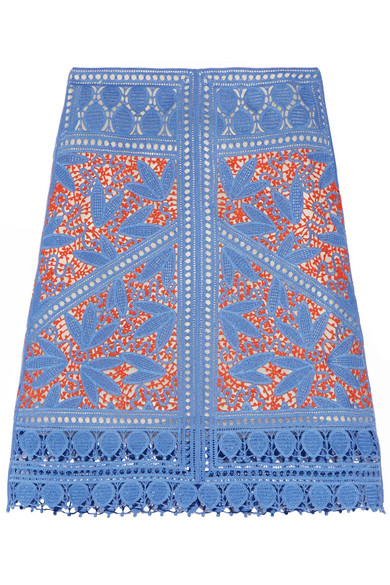 Tory Burch - Whitney Crocheted Lace Skirt - Blue