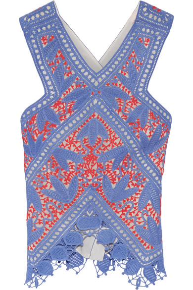 Tory Burch - Evie Crocheted Lace Top - Blue