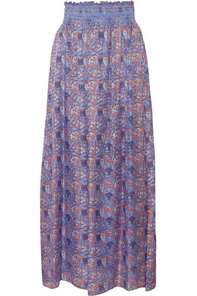 Tory Burch - Marilyn Printed Silk-blend Maxi Skirt - Blue