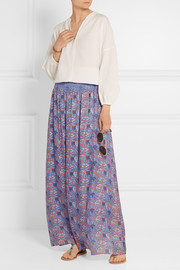 Marilyn printed silk-blend maxi skirt