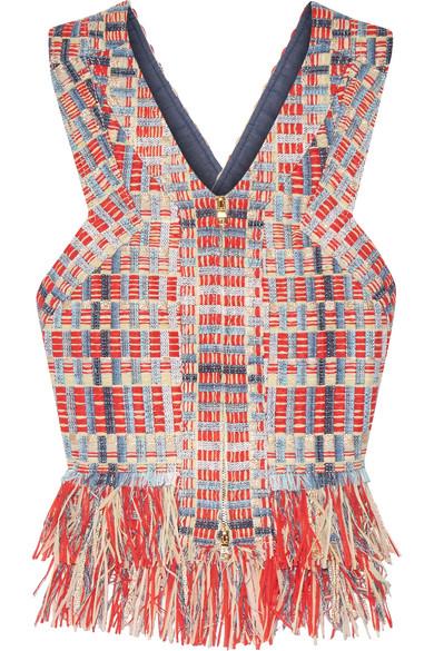 Tory Burch - April Cutout Fringed Metallic Tweed Top - Red
